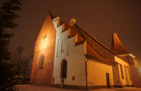 order in: Gothic church of the Order in the night in Poznan Stock Photo