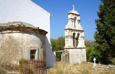 corfu: church tower in Corfu island, Greece Stock Photo
