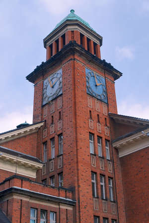 redbrick: Neo-Gothic tower red-brick building Stock Photo