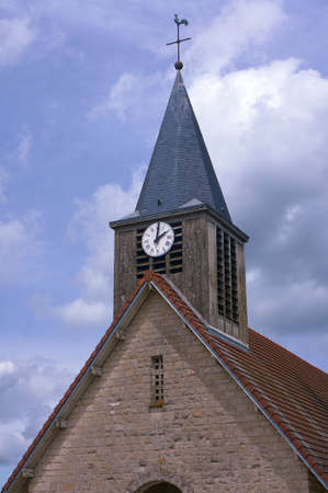 champagne region: Clock tower of the medieval church in the Champagne region in France