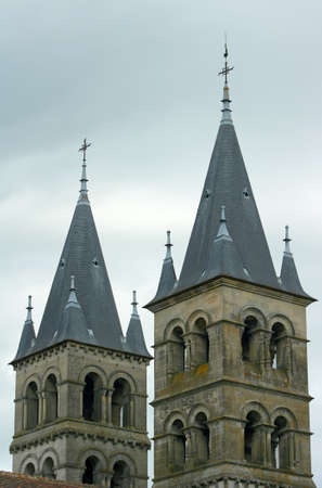 romanesque: Romanesque church towers in Melun, France