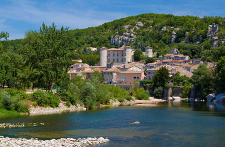 The medieval town of Vogue over the River Ardeche in France