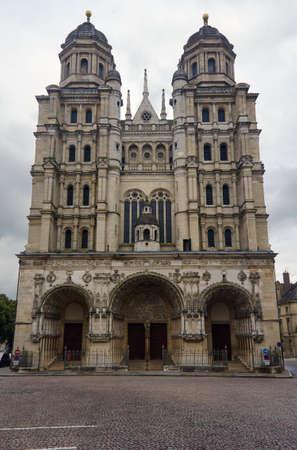 ade: Detail of facade of the Romanesque church of St. Michael in Dijon Stock Photo