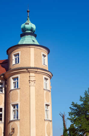 ade: Turret and the Art Nouveau building facade in Klodzko