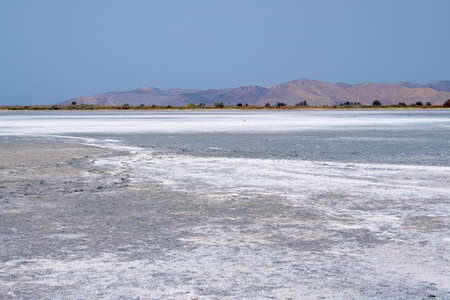 greece shoreline: Salt on the bottom of the Salt Lake Alykes on the island of Kos in Greece