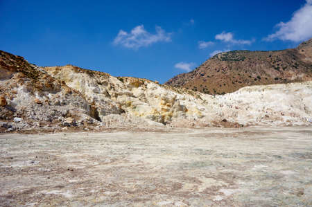 active volcano: People in the crater of an active volcano on the island of Nisyros Stock Photo