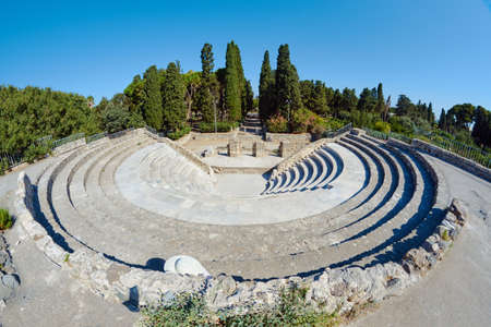 antigua grecia: The ruins of the ancient theater in Kos in Greece