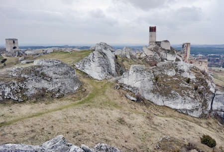 ruined: White rocks and ruined medieval castle in Olsztyn, Poland