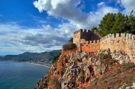 seljuk: Walls of the Seljuk fortress in Alanya, Turkey