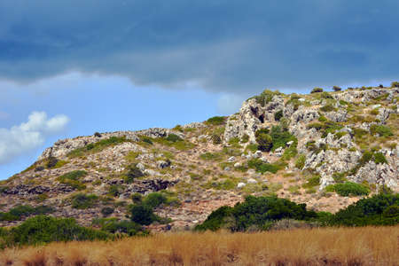 rhodes: rocky cliff on the island of Rhodes
