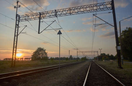 traction: Tracks with electric traction in Poland Stock Photo
