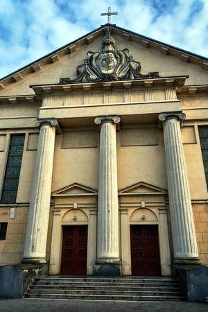 neoclassical: Neoclassical facade Catholic church in Poznan