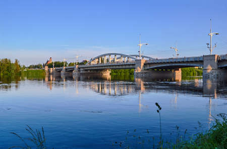 steel arch bridge: River Warta and steel arch bridge in Poznan