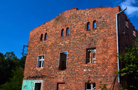 redbrick: Crash red-brick building without a roof in Poland Stock Photo