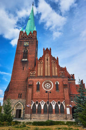 neogothic: The neo-Gothic church with belfry in Legnica in Poland