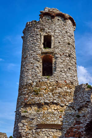 ruined: Ruined medieval castle with tower in Ogrodzieniec in Poland