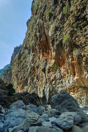 samaria: Rocky slopes Samaria Gorge on Crete Island