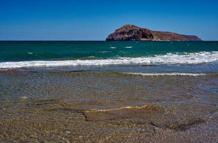 theodore: beach and Theodore island, Crete, Greece Stock Photo