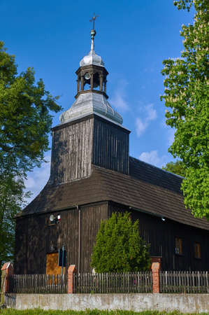 country church: Wooden country church with belfry in Poland