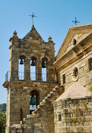 cross street: Bell Byzantine church on the island of Zakynthos
