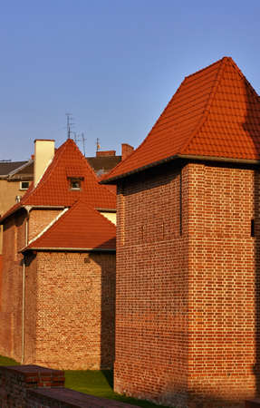 fortification: Medieval brick fortification in city of Poznan Stock Photo