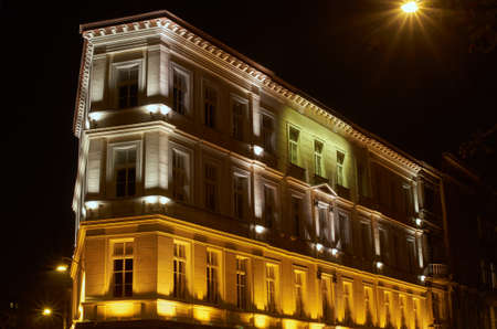 tenement: Modernist tenement house during the night in Poznan Stock Photo