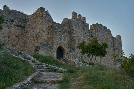 crusaders: The ruins of the medieval castle of the crusaders in Platamonas in Greece Stock Photo