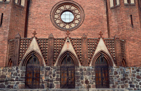 neogothic: The entrance to the neo-Gothic, Evangelic church in Poznan
