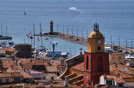 Belfry and the port of Saint Tropez in France Stock Photo