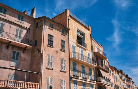 tropez: Tenement houses in the port of Saint-Tropez, France