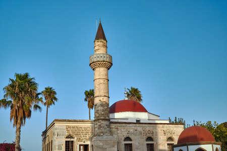 Palma and Turkish minaret in Kos in Greece