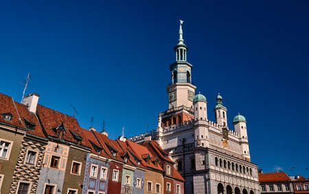 Townhouses and town hall in the Old Market Square in Poznan