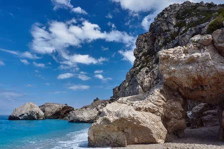 greece shoreline: Rocky cliff on the Greek island of Lefkada