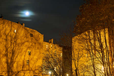 townhouses: Townhouses, trees and the moon at night in Poznan