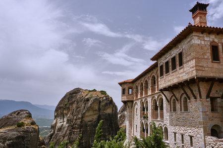 The Orthodox medieval monastery on top rock Meteora