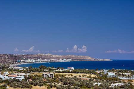 The city and the beach on the bay on the island of Rhodes Stock Photo