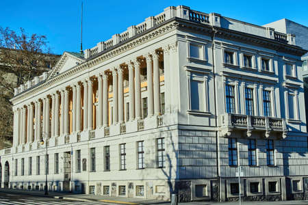 front elevation: The building and the public library to them. Raczynski in Poznan Stock Photo