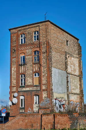 redbrick: The facade of the destroyed red-brick building in Poznan Stock Photo