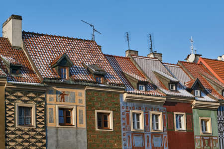 facades and roofs of the houses on the Old Market Square in Poznan Stock Photo