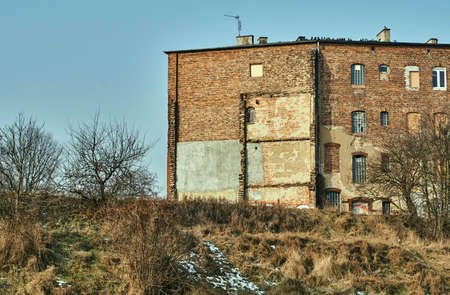 redbrick: The facade of the destroyed red-brick building in Poznan