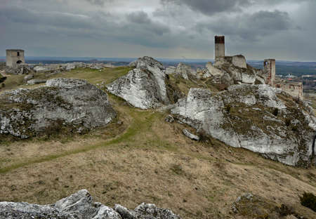 White rocks and ruined medieval castle in Olsztyn, Poland