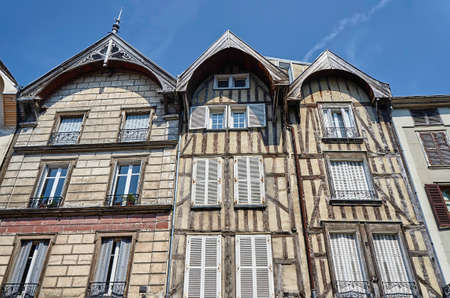 tenement houses in the old town of Troyes, France