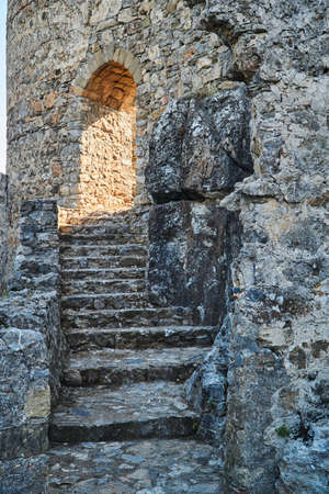 The gate of the stone castle of the Joannite Order on the island of Rhodes