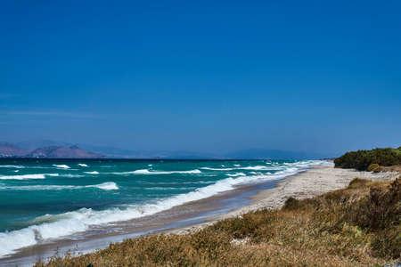Sand beach and dunes on Kos island in Greece