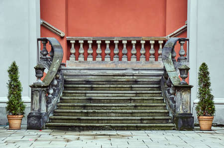 baroque: Baroque staircase in the courtyard of the former college of the Jesuits in Poznan Stock Photo