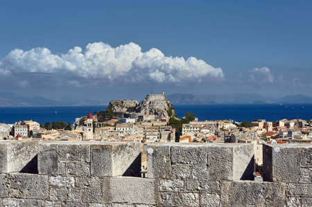 Walls of Venetian fortress and old town on the island of Corfu Editorial