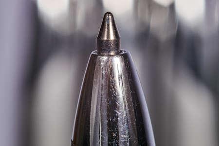 detail of metal ballpoint pen Фото со стока