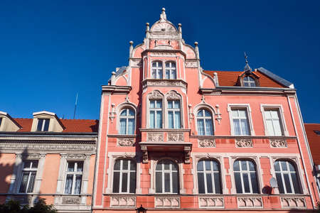 Facade of Art Nouveau apartment house in Gniezno Editorial
