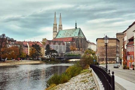 River Nysa, a cathedral house in the city of Gerlitz in Germany