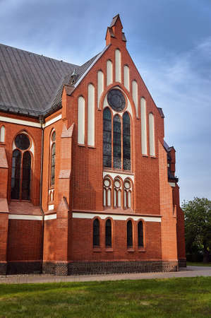 Pseudo-Gothic parish church in Poland Banco de Imagens